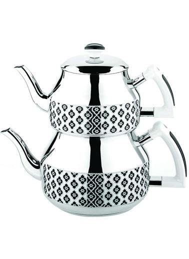 Özkent K-361 Hüma Mini Çaydanlık - Desenli Siyah Siyah